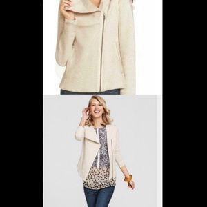CAbi Oatmeal Quilted Asymmetrical Zip Moto Jacket